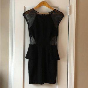 Bebe black peplum skirt dress